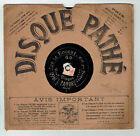 78T 21 cm SAPHIR DALBRET Disque Phonographe SUR LA BOUCHE Chanté PATHE 1460 RARE