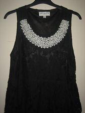 Una Hermosa Elegante Negro Ravi Famous London Con Decoración Vestido Talla Pequeña