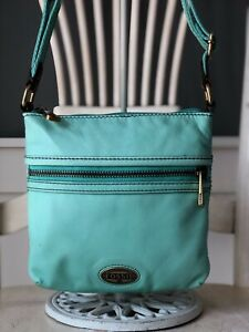 FOSSIL EXPLORER HOBO Small MINT Leather Crossbody Swing Pack Shoulder Bag Purse