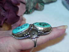 Navajo RR Turquoise Long Ring Old Pawn Massive Sterling 24.1g Vintage Sz 7.5