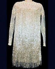 Mark Zunino Custom Dress Layers Of White Fringe Beads And Pearls Shimmer  Size 2