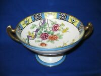 ANTIQUE NIPPON PEDESTAL COMPOTE DISH - Hand Painted