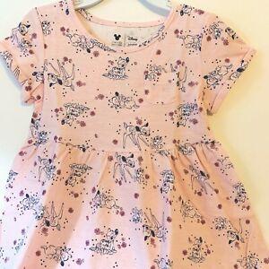 Disney Toddler Girls 4T Dress Bambi Thumper Pink Short Sleeve Cotton New