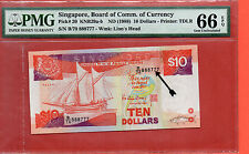 1988 Singapore Ship $10 note .PMG 66 EPQ  Fancy number 888777