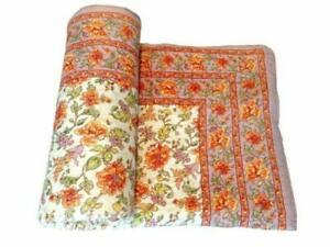 Jaipuri Razai Floral Printed Bed Cover Pure Cotton Quilted Bedspreads Quilt Twin