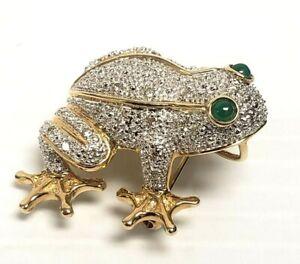 14K Yellow Gold FROG Diamond Emerald BROOCH PIN PENDANT