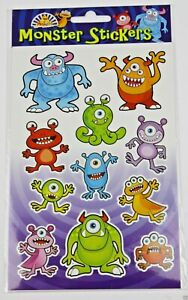 6 x Monster Packs Sticker Sheets Halloween  Childrens Party Loot Bag Fillers