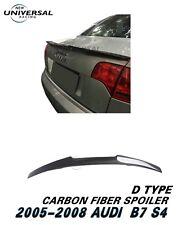 Carbon Fiber Rear Trunk Spoiler Wing For 2005-2008 Audi S4 B7 Sedan 4dr Type D