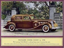 1936 Packard Super Eight Automobile New Metal Sign:  5 Passenger Club Sedan