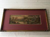 "Antique C. Stansey Idyllic Landscape Boats & Fishing Scene, Framed, 14 1/2"""