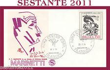 ITALIA FDC FILAGRANO 1976 F. T. MARINETTI KULBIN ANNULLO ROMA G701