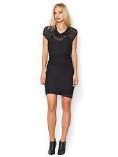 NWT Helmut Lang Slip Dress Black Puckered Lace Overlay Asymmetrical Draped P XS