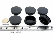"6 Locking Rigid Plastic Hole Plugs - To Fit 1  1/2"" Opening - Black Nylon"