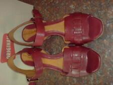 CLARKS femmes Sedge Auburn cuir rouge été chaussures à talon UK 6.5 D