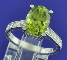 14k Solid White Gold 4.20 ct Natural Diamond & Oval Peridot Ring 4.7 Grams