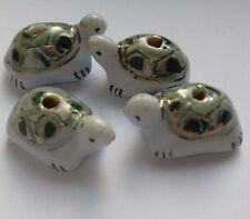 4 porcelaine Tortue Perles, blanc/vert/or. 20x12mm. Perles/Artisanat/embellir