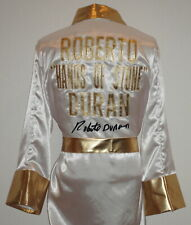 Roberto Duran Hands of Stone Autographed White Boxing Robe ASI Proof