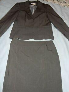 Calvin Klein Charcoal Gray Jacket Nine West Charcoal Gray Skirt Size 12 Set