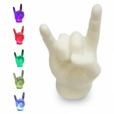 LED Rock-Faust Metal Hand Pommesgabel Lampe wechselnde Farben ca 10 x 17 x 7 cm