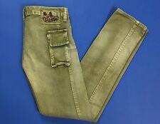 Bloom pantalone donna w26 tg 40 verde usati jeans stretti skinny slim T1212