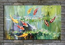 original oil painting, koi fish painting, water lily painting