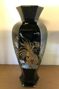 Tall Black Porcelain Oriental Flower Vase - Peacock 40.5 cm