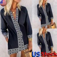 US Women Summer Boho Loose Chiffon Dress Lady V Neck Long Sleeve Casual Sundress
