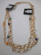 Banana Republic Gold Cabochon  Crystal Layering Necklace NWOT $35 Y B T Set of 3