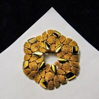 Vintage Crown Trifari Brooch Hexagon Pitted & Polished Gold Plate Trifarium Pin
