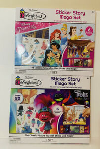 2 Colorforms Playsets Disney Priness & Trolls World Tour NEW 6 Scenes 80 Sticker