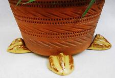 "POT FEET Ceramic Flower Planter Risers ""Birdfoot"" Design Earth Tones set of 4"