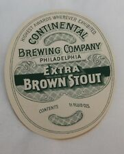 Vintage CONTINENTAL BREWING COMPANY, PA Beer Label Extra Brown Stout