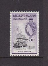 FALKLAND ISLANDS DEPENDENCIES 1954 SHIPS 5/- LIGHTLY HINGED MINT