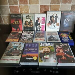 VHS JOBLOT 13 Video Tapes - Various - Including Head Cleaner - Good Condition
