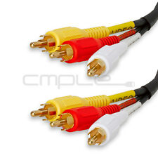Video 3 RCA Composite Video Audio A/V AV Cable GOLD 75 FT