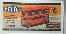 METTOY London Bus Red Painted 1-36 Scale Tin Plate Clockwork Drive Limited Ed