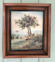 "Antique Hudson River School Oil Painting ""Duck Hunters & Dogs"" Eastlake Frame"