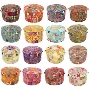 "17X12, 22X12"" Colorful Patchwork Round Ottoman Pouf Pouffe Cover Floor Seating B"