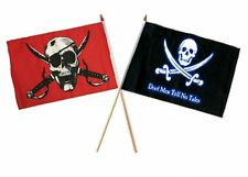 "12x18 12""x18"" Wholesale Combo Pirate Crimson & Dead Men Tell No Tale Stick Flag"