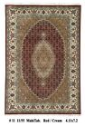 Quality Hand-Knotted Area Rug 5x7  Wool & Silk Red Fish Mahi Pattern Rug