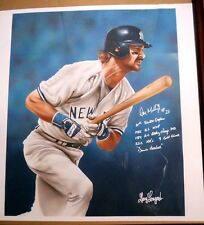 """NY YANKEE DON MATTINGLY AUTOGRAPHED   23""""X24"""" CANVAS 8 WITH SPECIAL INSCRIPTIONS"""