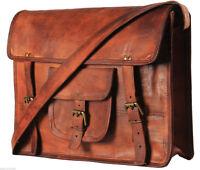 vintage leather Cross messenger Real satchel bag genuine laptop brown briefcase