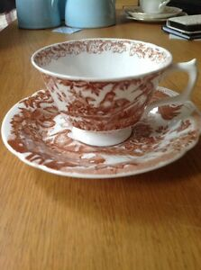 ROYAL CROWN DERBY 'Brown Aves' Cup & Saucer, Excellent Condition.
