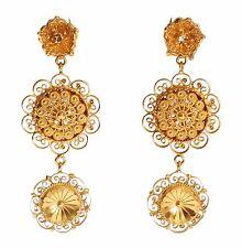 NEW DOLCE & GABBANA Earrings Gold Sicily Baroque Brass Drop Dangle Clip On