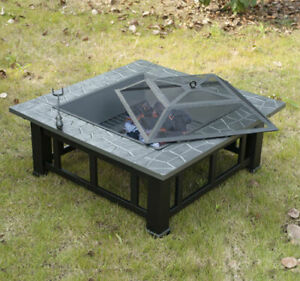"""w/ Cover 32"""" Square Outdoor Patio Fire Pit Backyard Deck Steel Heater Fireplace"""