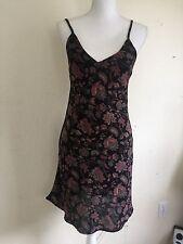 brandy melville black/red floral v neck fitted flare dress sz S/M