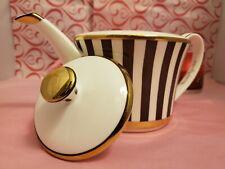RARE Iconic Henri Bendel Tea Pot Centennial Brown White Sripe/Bone China Gold