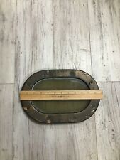 "Antique Solid Brass OD 11 3/4"" Long Oval Port Hole Window W/ Safety Marine Glass"