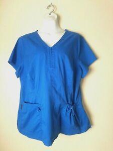 Koi Stretch Women's Royal Blue 1/4 Zip w/ Pockets Scrub Top Size XL