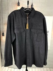 $225 New Filson Men Northwest Wool blend button up Shirt Gray Sz XL